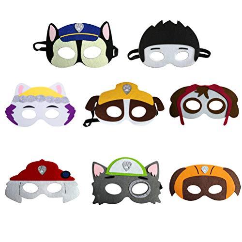 der, Paw Dog Patrol Spielzeug Puppy Party Masken Geburtstag Cosplay Charakter Party Favors Supplies für Kinder 8pcs ()