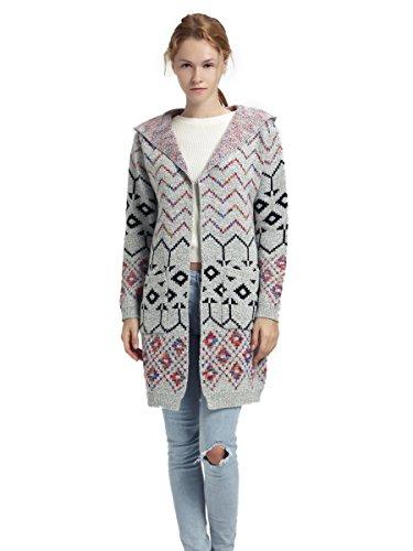 Frauen Strickjacke Aztec Pullover Mantel Mit Taschen und Kapuzenpulli Mode-Kleidung Front-Open Weich und warm (Front-strickjacke-pullover)