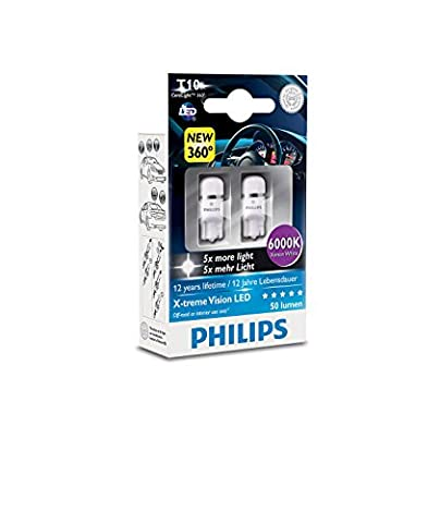 Philips 127996000KX2 X-tremeVision LED W5W T10 6000K CeraLight, Set of 2