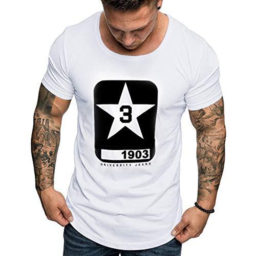 MRULIC Herren T-Shirt mit Muster Bedrucken Motiv Geschenk für Papa oder Geburtstag T-Shirt 3D Drucken Sommer Beiläufige Grafik Kurzen Ärmeln Hemd(Weiß,M) (Ravenclaw Hat Schal)