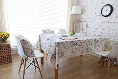 NO BRAND Mantel Decorativo de peonía Blanca Mantel de Lino de algodón...