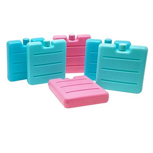 Toci–piccole mattonelle frigo in blu, fucsia e verde, per la borsa frigo e il contenitore per la merenda, 6