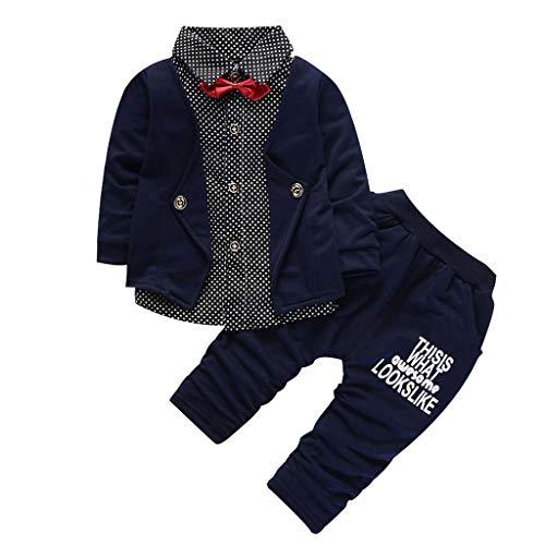 Deloito Kinder Jungen Gentleman Langarm Fliege Tupfen Anzug Zweiteiler Tops + Brief drucken Hosen Kleinkind Baby Baumwolle Kleidung zweiteiliges Set (Marine,100/[18-24 Monate]) -