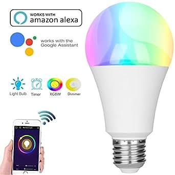 alexa lampe gl hbirne smart wifi led lampe e27 birne rgbw gl hbirne kompatibel mit amazon. Black Bedroom Furniture Sets. Home Design Ideas