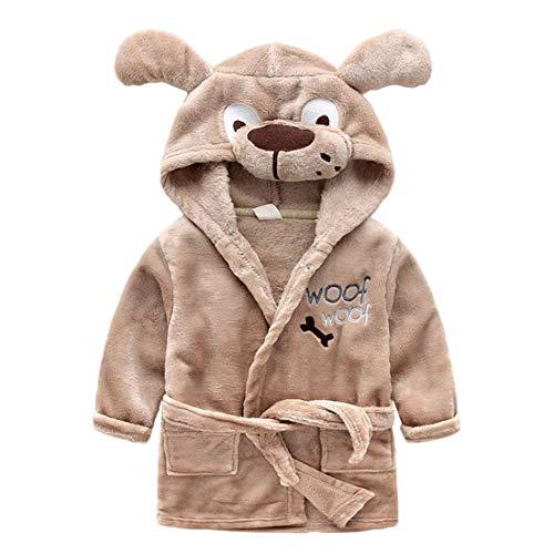 X-Labor Kinder Baby Flanell Bademantel mit Kapuze Tier Kostüm Badetuch Kapuzenhandtuch Schlafanzug Nachtwäsche für Mädchen Jungen Braun Hund 90 (Junge Hund Halloween-kostüme)