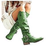 DNOQNFrauen Stiefeletten Stiefel Boots Damen Damen Mode Knie High Riding Stiefel Stiefel Dick Absätze Leder Schuhe Grün 37