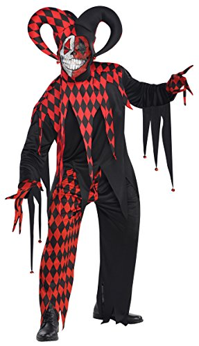 Preisvergleich Produktbild Herren Halloween Krazed Schwarz-Clown Jester Red & Fancy Dress Party Kostüm