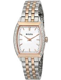Bulova Diamond Analog White Dial Women's Watch - 98R200