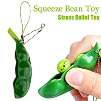 ?? GreatestPAK Cute Squishies Green Fidget Bean Toys Stress Relief Squeeze Improve Focus Toy Birthday Gift Keychain For Boys Girls