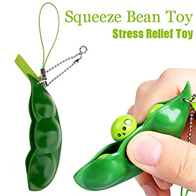 ?? GreatestPAK Cute Squishies Green Fidget Bean Toys Stress Relief Squeeze Improve Focus Toy Birthday Gift Keychain For Boys Girls : everything five pounds (or less!)