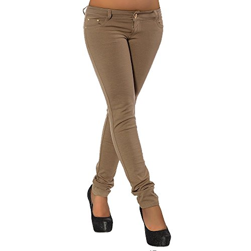 G701 Damen Jeans Look Hose Röhre Leggings Leggins Treggings Skinny Jeggings, Farben:Coffee;Größen:36 (S) -
