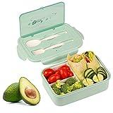KATELUO Bento Lunch Box - per Adulti Bambini 1400ml Contenitore per Il Pranzo Pranzo con 3 Scomparti e Posate (1 Forchetta e 1 Cucchiaio), può Essere Usato per Microonde e Frigo Lavastoviglie (Verde)