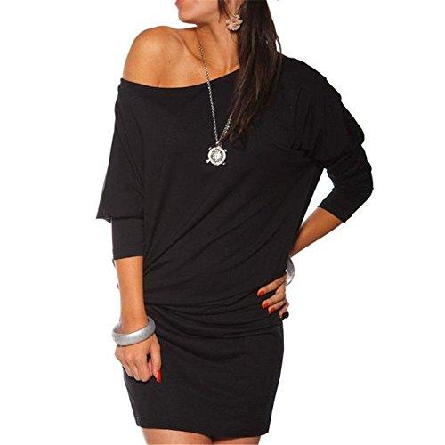 Ularmo Femmes manches longues Encolure Mini Batwing Tunique Robe Noir