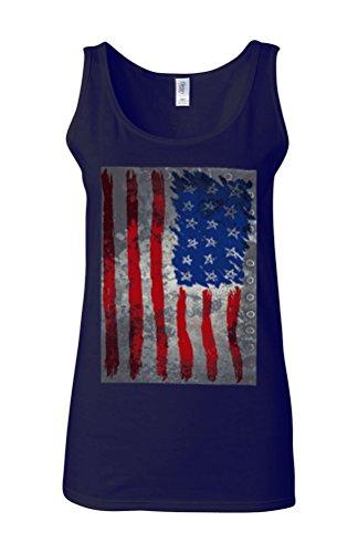 American Flag Hand Draw Retro White Femme Women Tricot de Corps Tank Top Vest Bleu Foncé