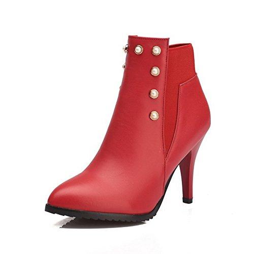 AgooLar Damen Spitz Zehe Rein Knöchel Hohe Stiletto Stiefel, Rot, 36