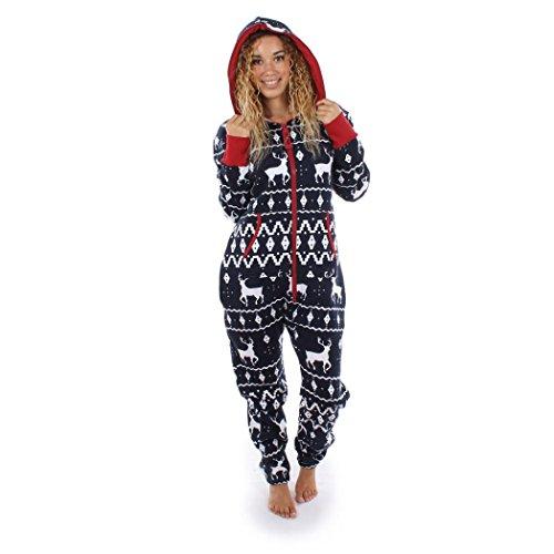 Damen Jumpsuit Pyjamas FORH Frauen Langarm Weihnachten Elch Bedruckt Overall Nachthemden Winter warm lang hoodie Schlafanzüge Hosenanzug Jumpsuit Anzug Sleepwear Overall (S, Marine)