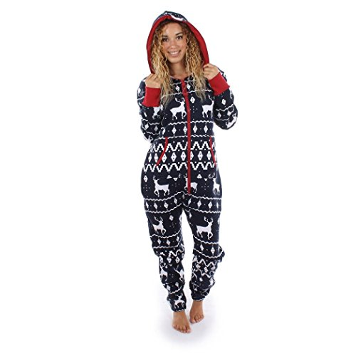 Damen Jumpsuit Pyjamas FORH Frauen Langarm Weihnachten Elch Bedruckt Overall Nachthemden Winter warm lang hoodie Schlafanzüge Hosenanzug Jumpsuit Anzug Sleepwear Overall (L, Marine) (Ganz Körper Anzug Kostüme)