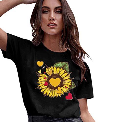 TOPKEAL Damen Top Bluse Frühling Sommer Frauen Sunflower Graphic Tee Tops Herz Bedruckt Kurzarm Casual Tops Shirts Lässig Mode T-Shirt