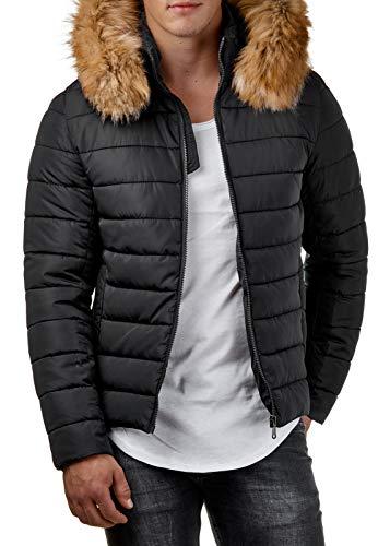 EightyFive Herren Winter-Jacke Kunst-Fell-Kapuze Gesteppt Schwarz Khaki EF316, Größe:S, Farbe:Schwarz