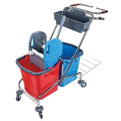 Doppelfahrwagen aus verchromten Metall mit 2 Eimern (je 25 Litern in Rot/Blau), Reinigungswagen mit Mopp-Presse und Müllbeutel-Halter Sowie Ablagekorb (Putzwagen)