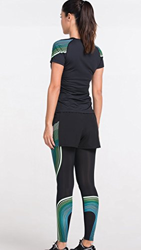 Cody Lundin al aire libre de deporte mujeres negras apretadas de la manga corta camisetas camiseta femenina delgada Black-B