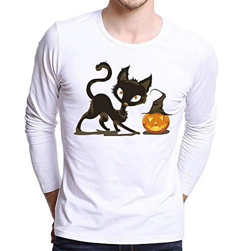 UJUNAOR Männer Halloween Top Plus Size Gedruckt Tees Shirt Langarm Frauen-Halloween Kürbis T Shirt Bluse Viele Muster XS Bis 4XL(Weiß,CN S)