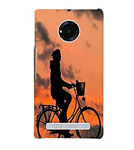 Printvisa Shadow Image of A Cyclist Back Case Cover for YU Yuphoria::Micromax Yuphoria YU5010