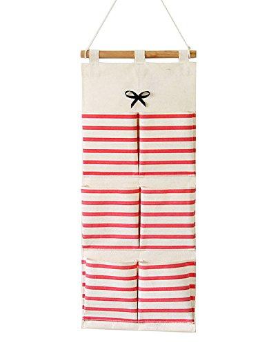 Kimjun Baumwolle Hängenden Tasche Wand Häng Aufbewahrungstasche Hängende Kombination Tasche Organizer Multifunktionale Wohnzimmer Schlafzimmer Utensilo 6 Tasche Rot