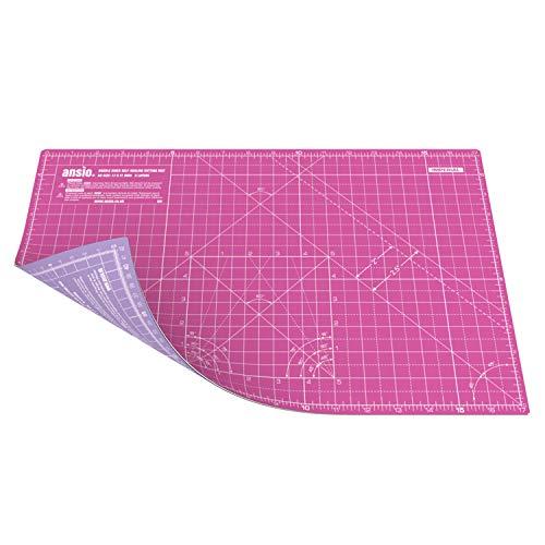 ANSIO Schneidematte Selbstheilende A3 Doppelseitige 5 Schichten sassend für Kunst, Nähen - Imperial/Metric 17 x 11 Zoll / 42 x 27 cm- Super Rosa/Lavendel Lila