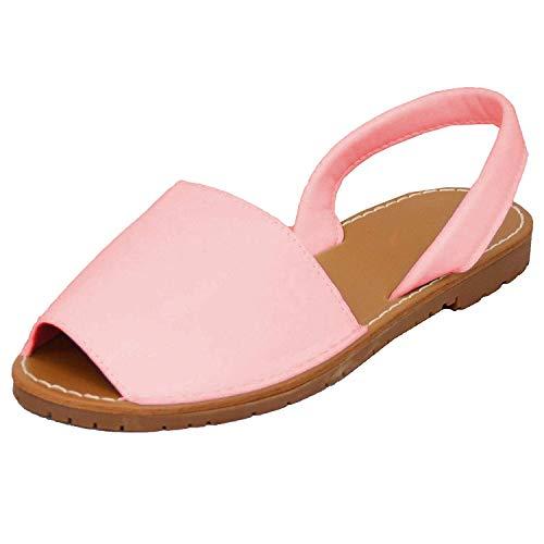 Minetom sandali donna eleganti spiaggia casuale dolce espadrillas sandals estivi confortevoli tacco basso peep toe tacco piatto scarpe rosa eu 41