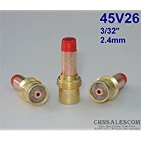 CHNsalescom 3 pcs 45V26 Collet Body Gas Lens for Tig Welding Torch WP-17-18-26 2.4mm 3/32""