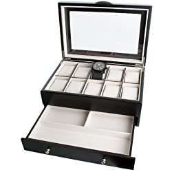 Black Satin Wood Finish 10 Watch Display Box Case Java Collection By Mele & Co