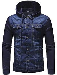 WQ&EnergyMen Men College Jacket Hooded Denim Slim Fit Washed Bomber Coat