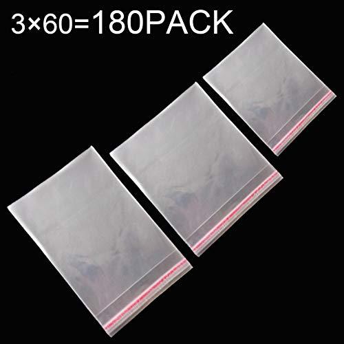 [180 Stück] Klar Cellophan Bag-Verschiedene Größen-60 Jeder von (8x12cm 13x15cm 12x19cm) Selbstklebende Cellophan Plastiktüten Süßigkeiten Hochzeit Seifen Deko Bag