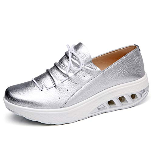 Solshine Damen Leder Plateau Sneakers Shape up Fitness Walkmaxx Turnschuhe Silber 40EU