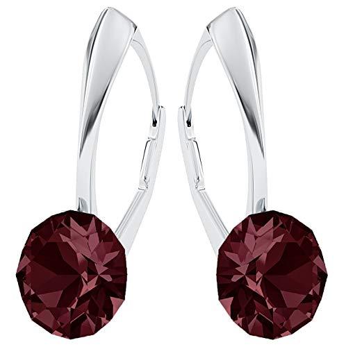 Crystals&Stones, Xirius - Orecchini pendenti da donna in argento 925 con cristalli Swarovski®, con scatola per gioielli (PIN/75) e Argento, colore: bordeaux, cod. 7