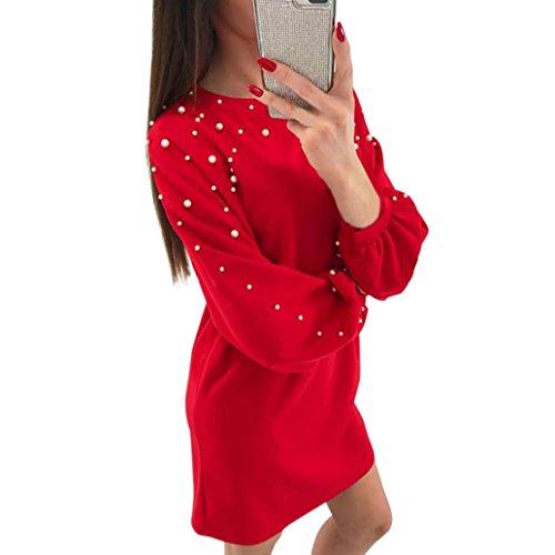 Tuniken Pullover Streetwear Bluse,Damen Runder Hals Nagel Perlen Feste Farbe Langarm Slim Dress (Red, M) -