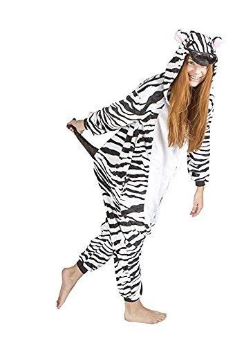 nisex Erwachsene Cosplay Kostüm Tier Pyjamas (XL, Zebra) (Halloween-ideen Für Die Geburtstagsfeier)