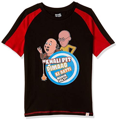 Motu Patlu Boys' Plain Regular Fit T-Shirt (MPPBSL0195_Black_4-5 Years)