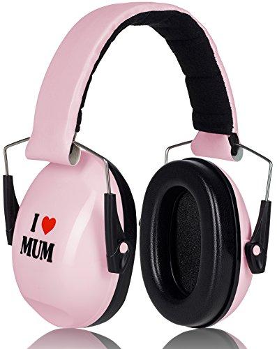 Prime Deal Gehörschutz Kinder Hellrosa I LOVE MUM Mitwachsend Verstellbar besonders geeignet für Ihr Baby ab 12 Monaten Kinder Gehoerschutz Ohrenschützer nach CE EN352-1 zugelassen
