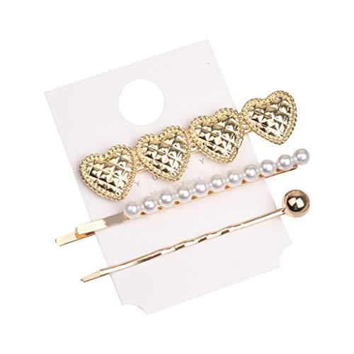 Lifet 3Pcs Hair Charms Perlen Metall Gold Haar Geflecht Ringe Shell Anhänger Charms Ringe Set Haarspange Stirnband Zubehö -