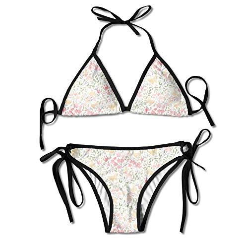 Rghkjlp Cherry Blossoms Womens Triangle Top Bikini Swimsuit Sliding Swimwear