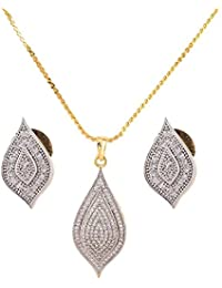 IGP Fashion Jewellery Gold Plated Chain With Cz Studded Appealing Pendant With Dazzling Earrings For Women And...