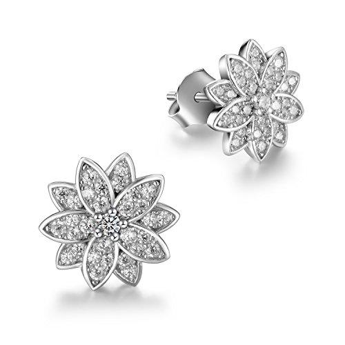 L'aier orecchini argento sterling 925 petalo per donna-cuore e frecce zircone brillante regalo di festa della mamma