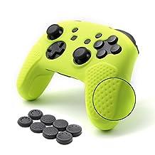 CHIN FAI voor Nintendo Switch Pro Controller case, antislip siliconen huid beschermhoes met 8 stks thumbsticks Grips (Citroen Geel)