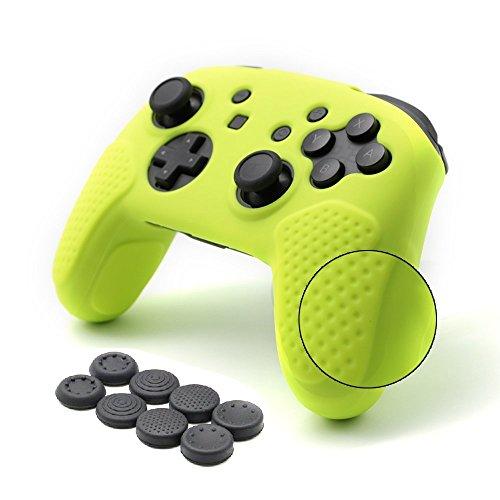 Nintendo Switch Pro Controller Hülle,CHINFAI Anti-Rutsch-Silikon-Haut-Schutzhülle mit 8pcs Thumbsticks Griffe (Zitrone Gelb) (Abdeckung Knopf Der Gelbe)