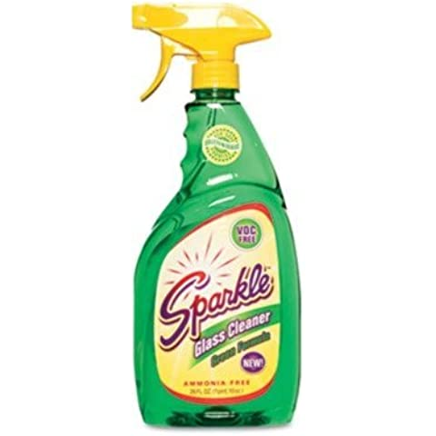 Sparkle Green Formula Glass Cleaner, 26oz Spray Bottle, 12/Carton by