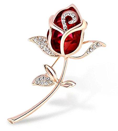WayOuter Damen Broschen & Anstecknadeln Elegant Strass Vergoldet Rose Brosche (Rot)
