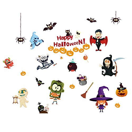 TeasyDay Halloween Wandtattoos, Horror Tür Fensterglas Aufkleber, Einfach anzubringen, zu entfernen, zu bewegen und wiederzuverwenden, ungiftig, umweltfreundlich, wasserdicht, 60 x 90 - Am Besten Gruselige Kostüm
