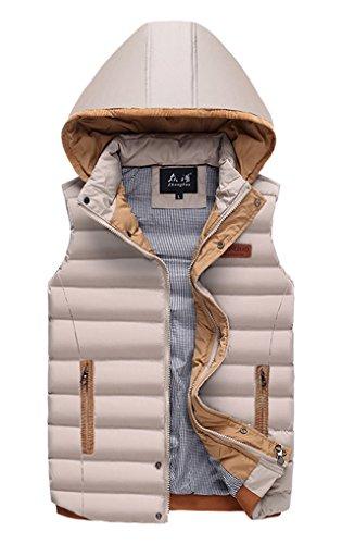 Panegy Veste Sans Manches Légèr et Confortable Pour Homme au Chaud en Hiver - Doudoune sans manches avec capuche amovible - 4 couleurs - S/M/L/XL Kaki
